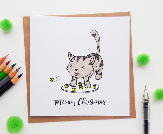 Christmas Cat Card - Sprouts
