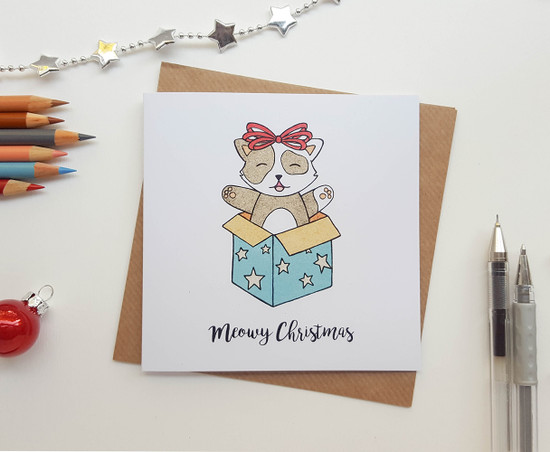 Christmas Cat Card - Kitty Surprise