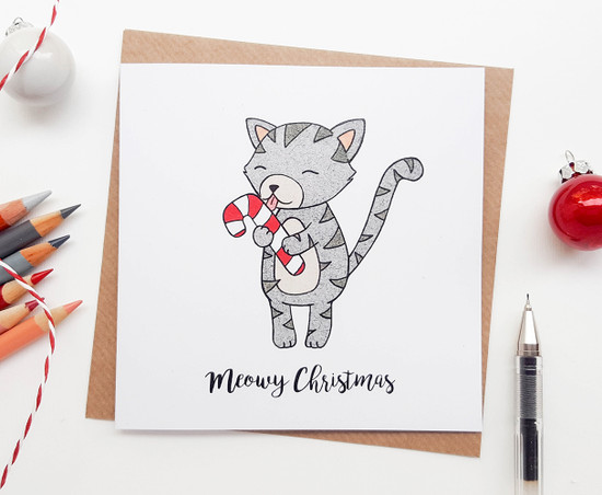 Christmas Cat Card - Candy Cane