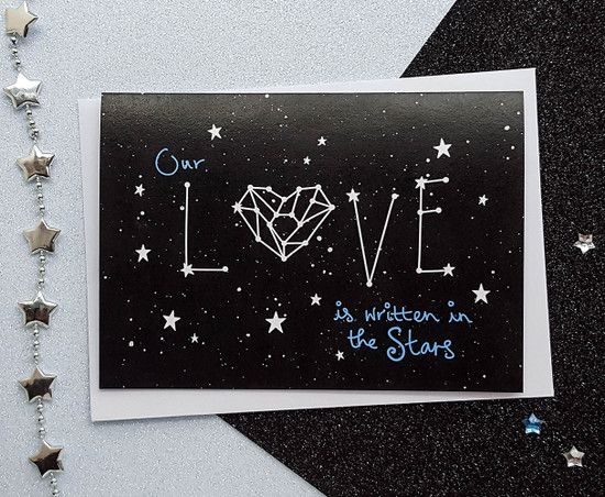handmade space Valentines card -  love constellation
