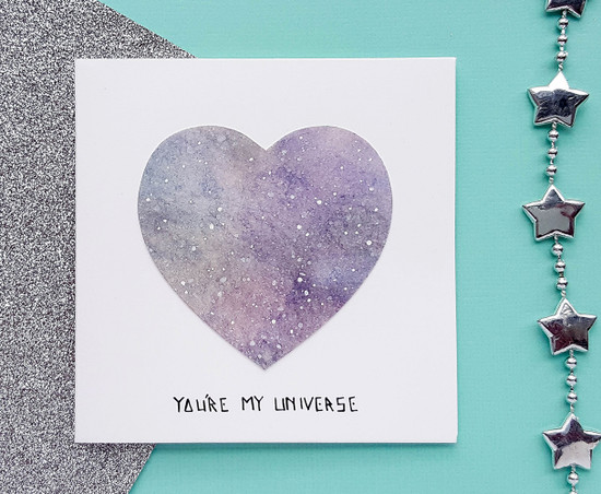 Personalised Handpainted Galaxy Heart Anniversary Card