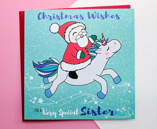 SANTA CLAUS & CLEMENT Unicorn - SISTER Christmas Card