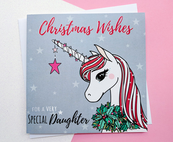SEREN Unicorn - DAUGHTER Christmas Card