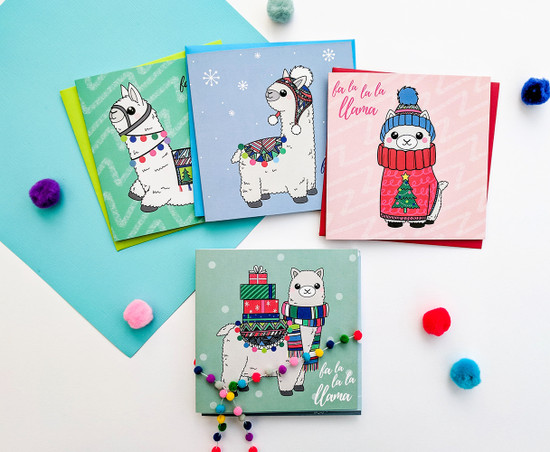 Multipack of 6 Llama Christmas Cards