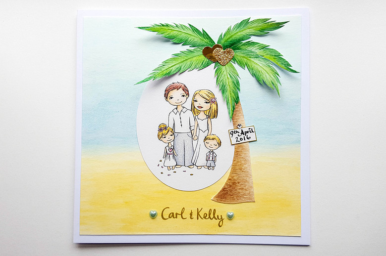Bespoke Designs: Custom Beach Wedding Card