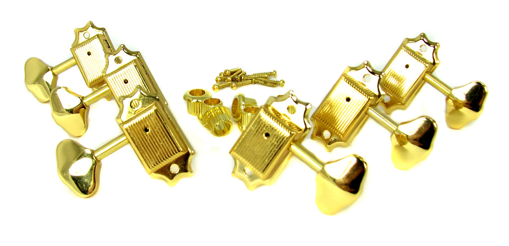 6pc Gold Wilkinson(tm)-style 3L/3R Covered-Gear Tuners