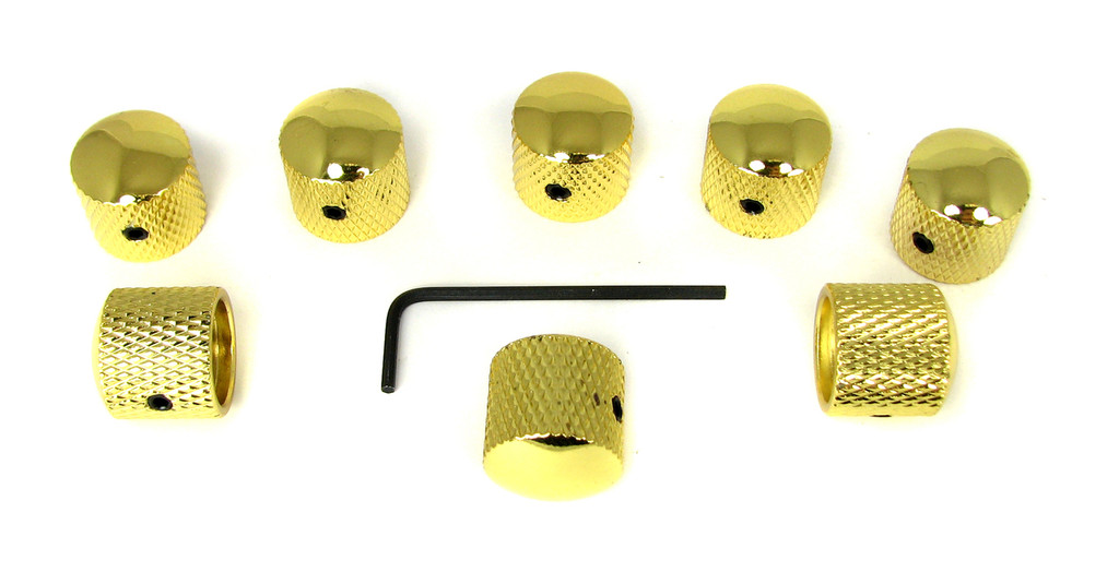 8-pack Knurled Gold Dome Knobs with Set Screws