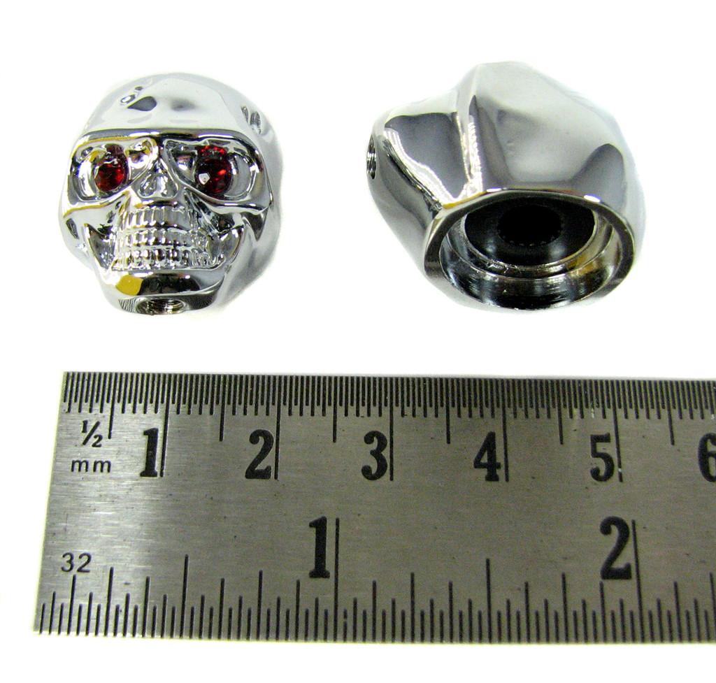 Voodoo Skull Knobs - One pair -  Chrome w/ jewel eyes