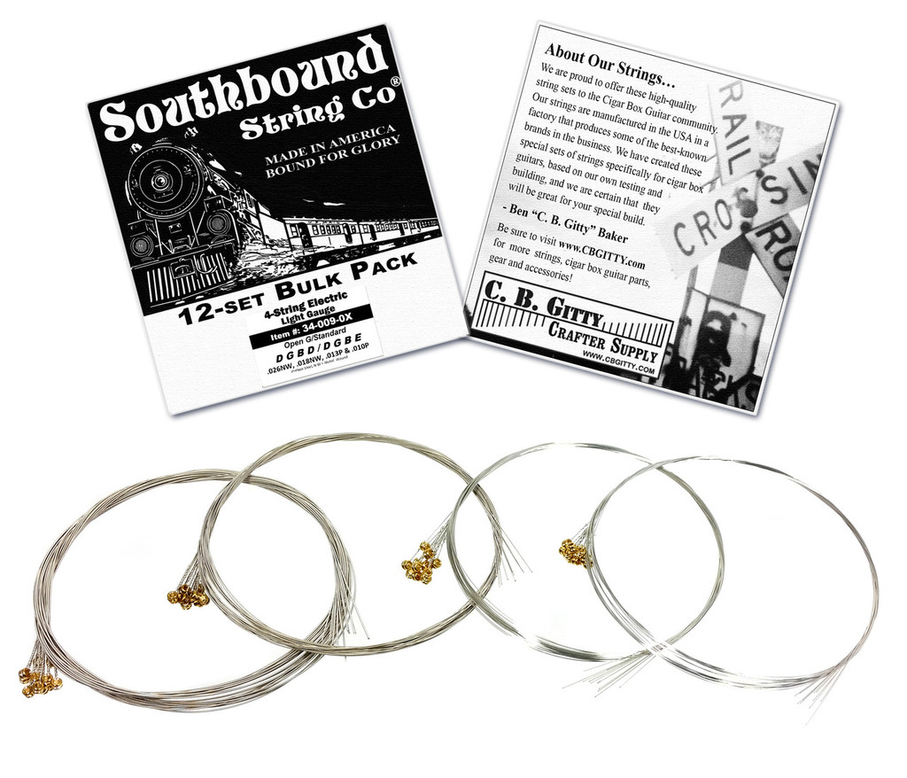 12-pack 4-string Cigar Box Guitar Strings - Open G Major/Standard Guitar Tuning - Electric Light