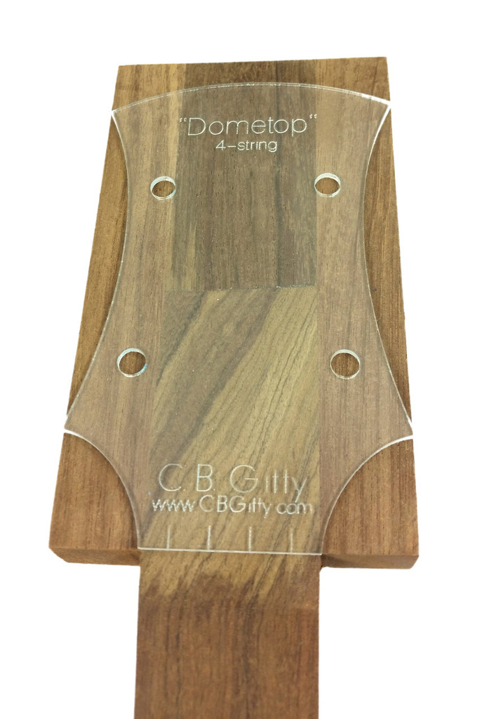 """An example of the """"Dometop"""" template placed on one of our extended headstock neck blanks, ready for tracing."""