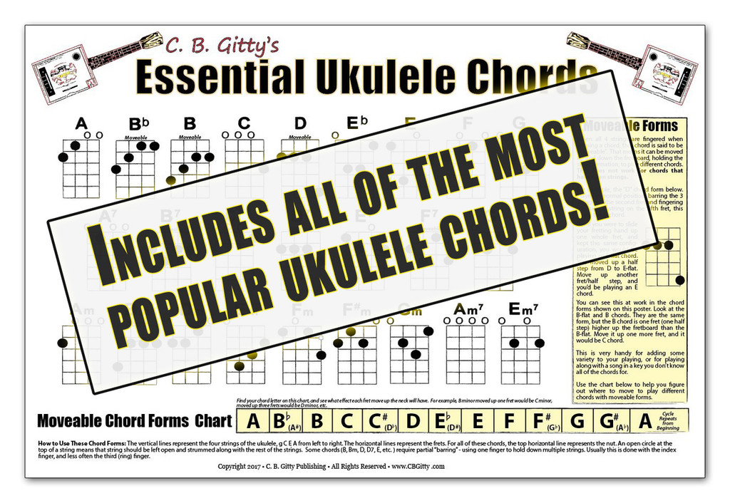 Essential Ukulele Chords Poster - Glossy Color 12x18 Poster - Designed & Printed in the USA!
