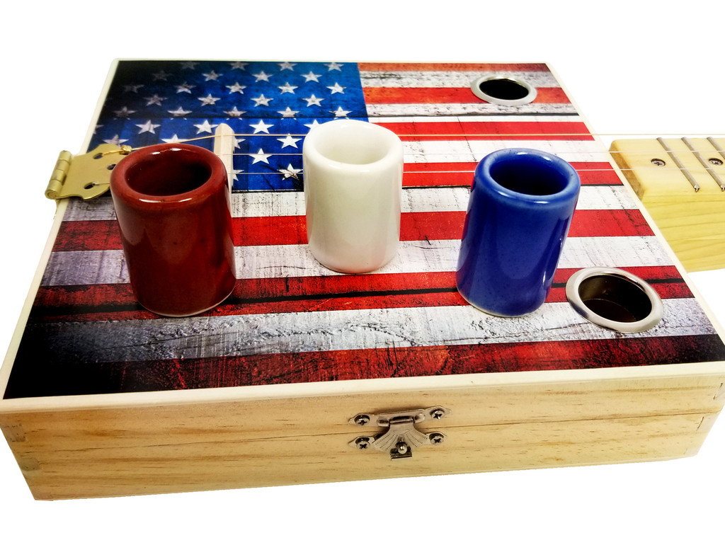 The Red, White & Blue Slide Set for Cigar Box Guitars - handcrafted in the USA!