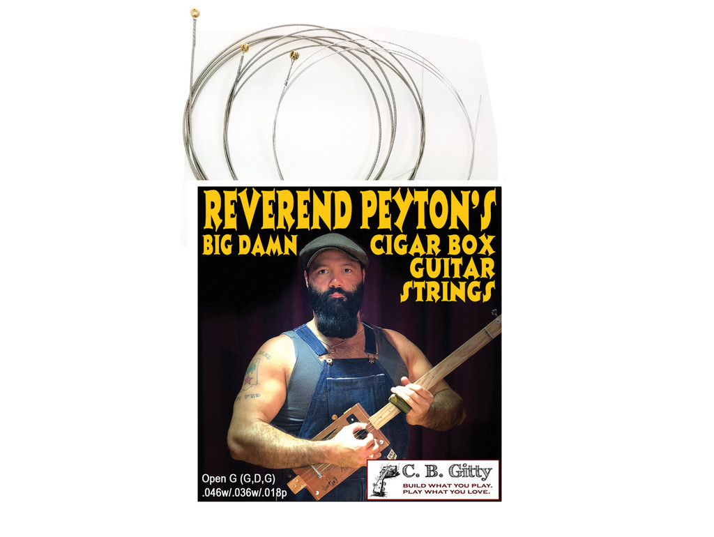 Rev. Peyton's Big Damn 3-string Cigar Box Guitar Strings - Electric Medium GDG