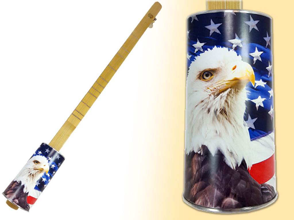 """""""Stars & Stripes"""" One-String Acoustic Canjo by The American Canjo Company"""