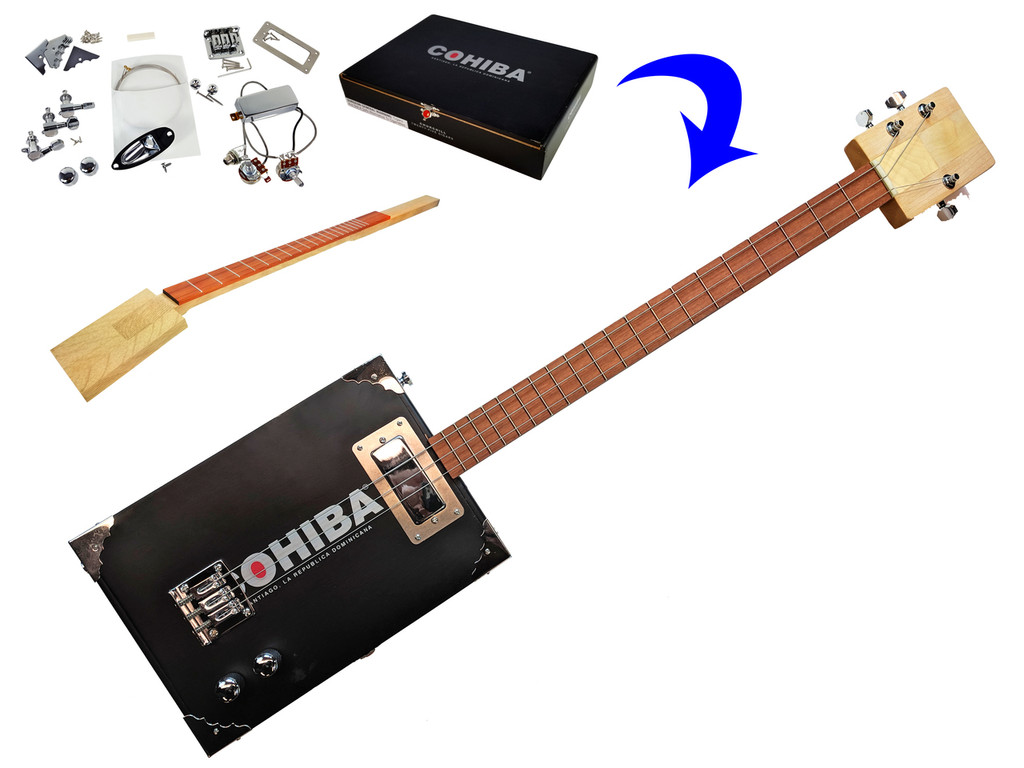 """""""The Chicago"""" Electric 3-String Cigar Box Guitar Kit"""