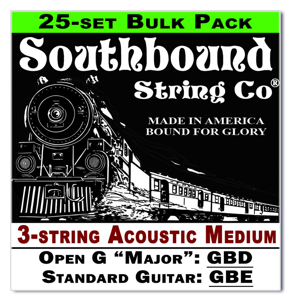 25-count BULK PACK 3-String Cigar Box Guitar Strings - Open G Major/Standard Guitar Tuning - Acoustic Medium
