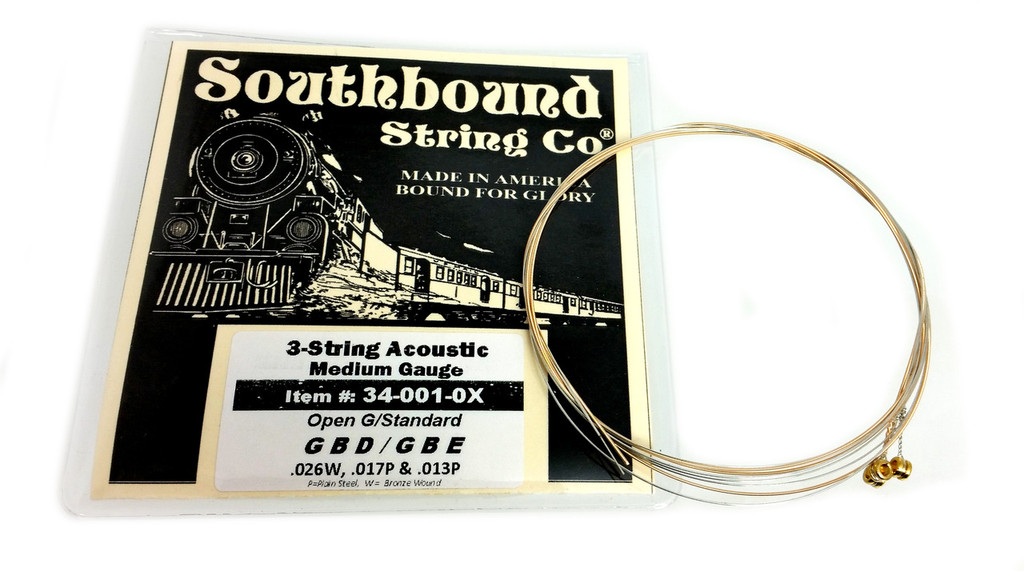 Acoustic Medium 3-String Cigar Box Guitar Strings - Open G/Standard - GBD/GBE