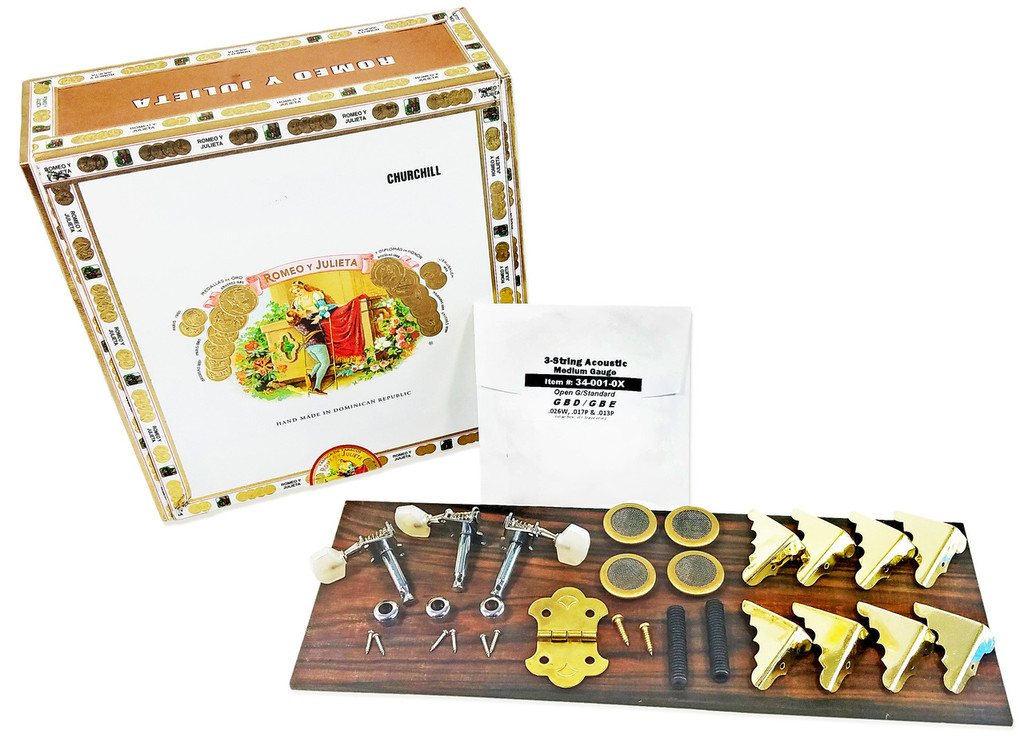 3-String Cigar Box Guitar Kit with How-To Guide