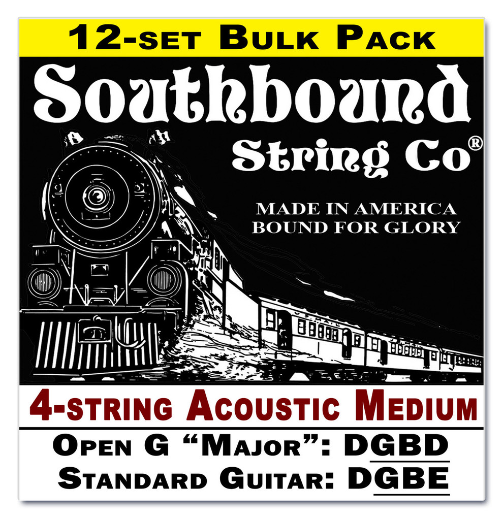 12-pack 4-string Cigar Box Guitar Strings - Open G Major/Standard Guitar Tuning - Acoustic Medium