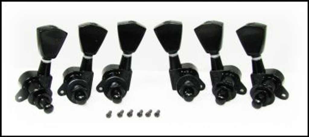 Black Tombstone-style Sealed-Gear Guitar Tuners/Machine Heads - 6pc. 3 left/3 right