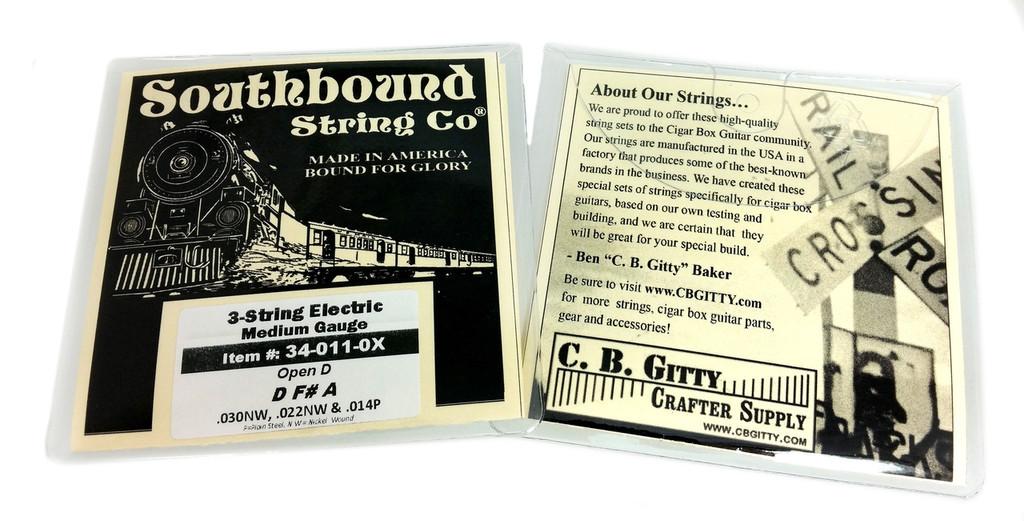"Electric ""Medium"" 3-String Cigar Box Guitar Strings - Open D - D F# A"