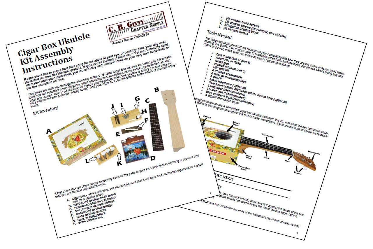 Cigar Box Ukulele Diy Kit Everything Included Download Instructions For Free Uke Fretboard Diagram