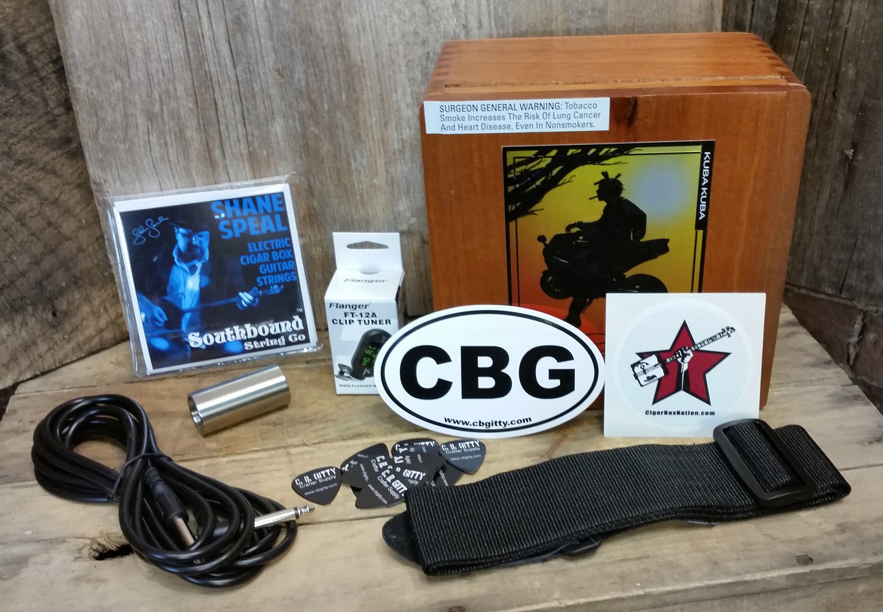 The Cigar Box Guitar Player's Gift Pack - a box full of CBG essentials accessories!