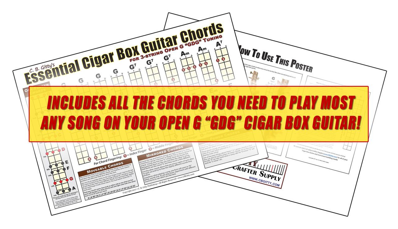 Open G Gdg Essential Cigar Box Guitar Chords Poster C B Gitty String Tuning Diagram