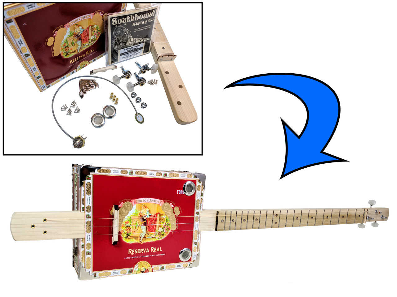 Complete Diy 3 String Fretted Cigar Box Guitar Kit With Neck Wiring Harness Includes Acoustic