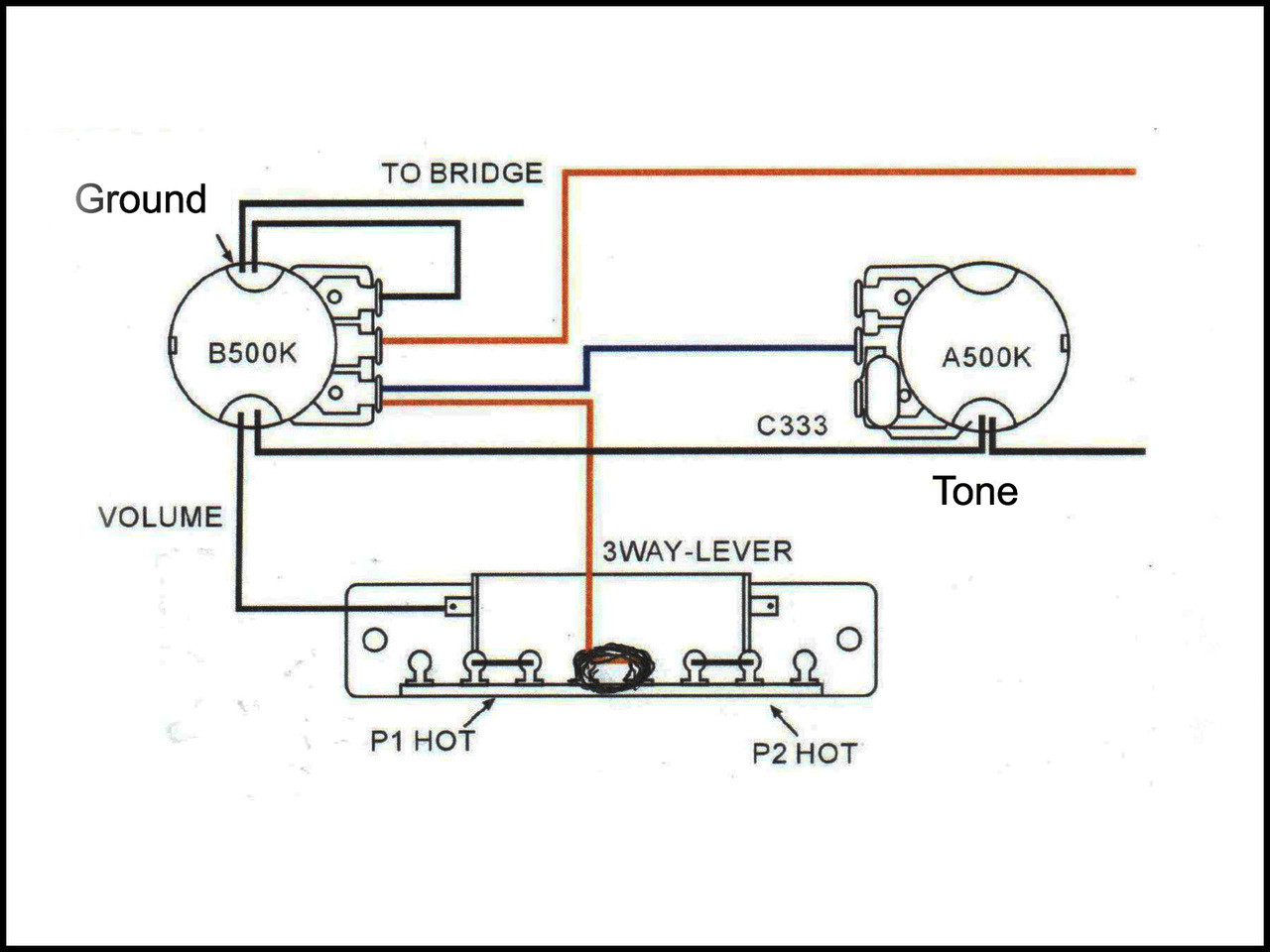 Basic 3 Way Guitar Pickup Toggle Switch C B Gitty Crafter Supply Wiring Diagrams On Electric Humbucker