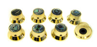 8-pack Shiny Gold Top Hat Knobs with Abalone Tops