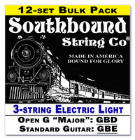 12-pack 3-string Cigar Box Guitar Strings - Open G Major/Standard Guitar Tuning - Electric Light