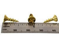 "#6 x 1/2"" Brass-plated Phillips Flat-Head Screws"