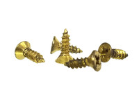 "#4 x 3/8"" Brass-plated Phillips Flat-Head Screws"