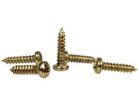 100pc. #2 x 3/8ths-inch Brass-plated Phillips Round Head Screws