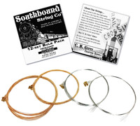 12-pack 4-string Cigar Box Guitar Strings - Open G Major/Standard Guitar Tuning - Acoustic Extra Light