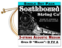 Acoustic Medium 3-String Cigar Box Guitar Strings - Open D Tuning - D F# A