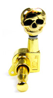Gold Skull Sealed-Gear Guitar Tuners/Machine Heads - 6pc. 3 left/3 right