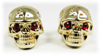 Voodoo Skull Knobs - One pair - Gold w/ jewel eyes