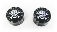 "Outlaw Skull Speed Knobs - Matching Pair - White Skull ""13"" on Black"