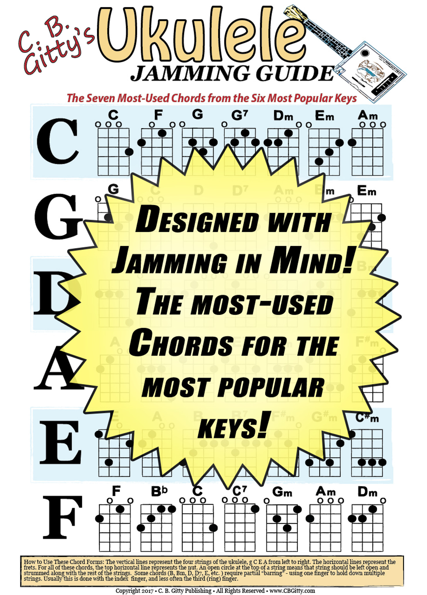 ukulele jamming guide poster glossy color 12x18 poster designed