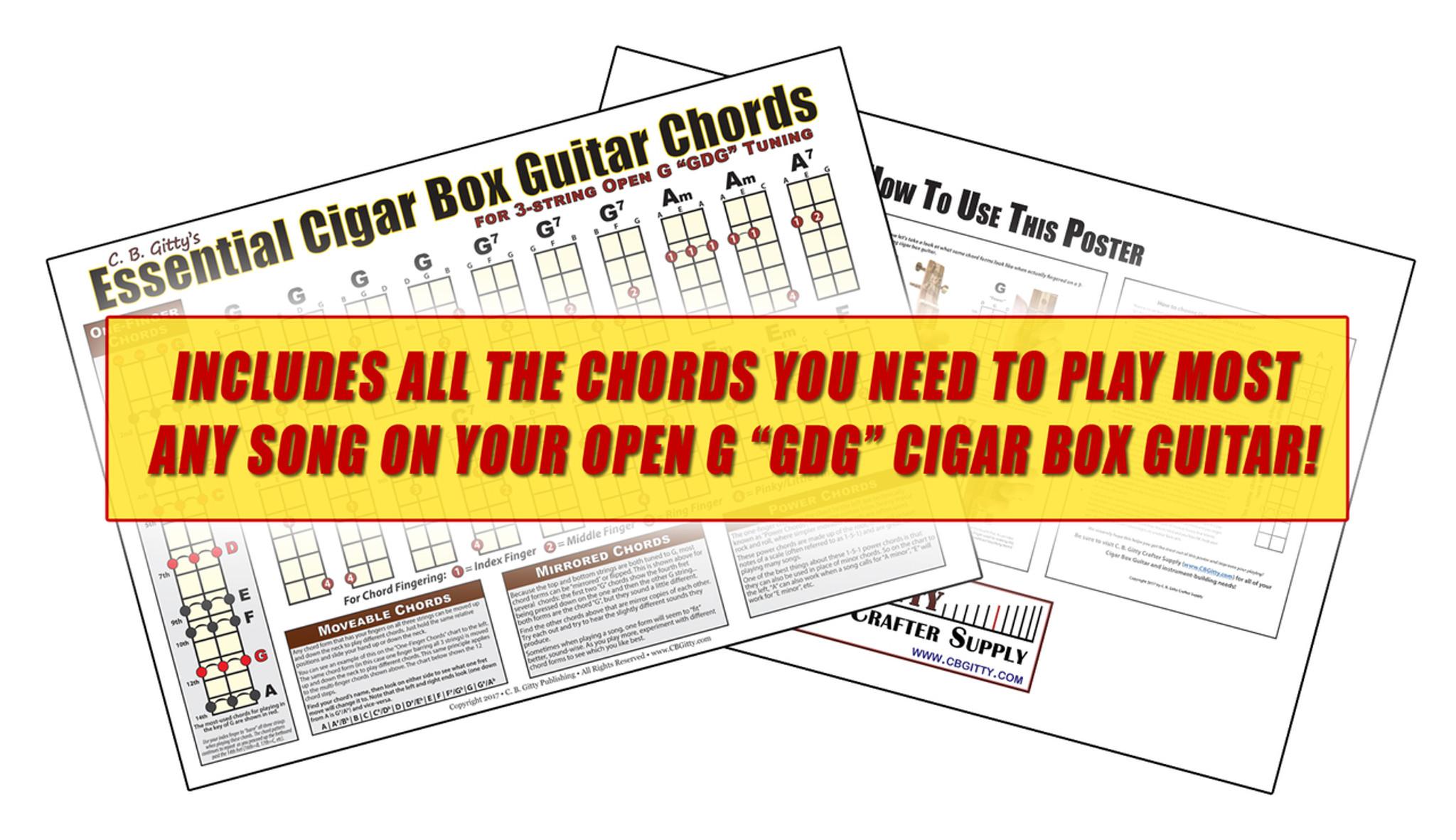 Open G Gdg Essential Cigar Box Guitar Chords Poster C B Gitty