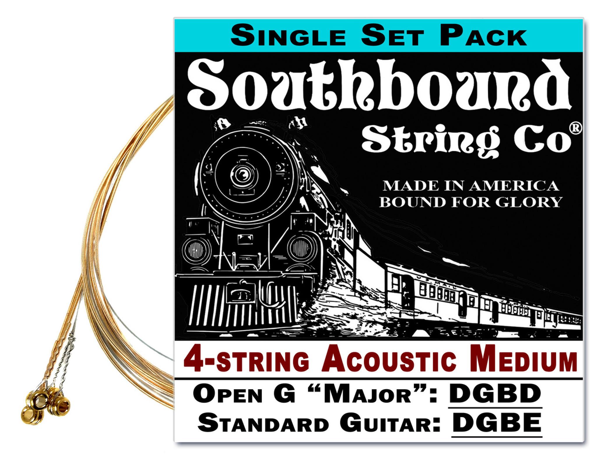 Acoustic Medium 4 String Cigar Box Guitar Strings Open Gstandard