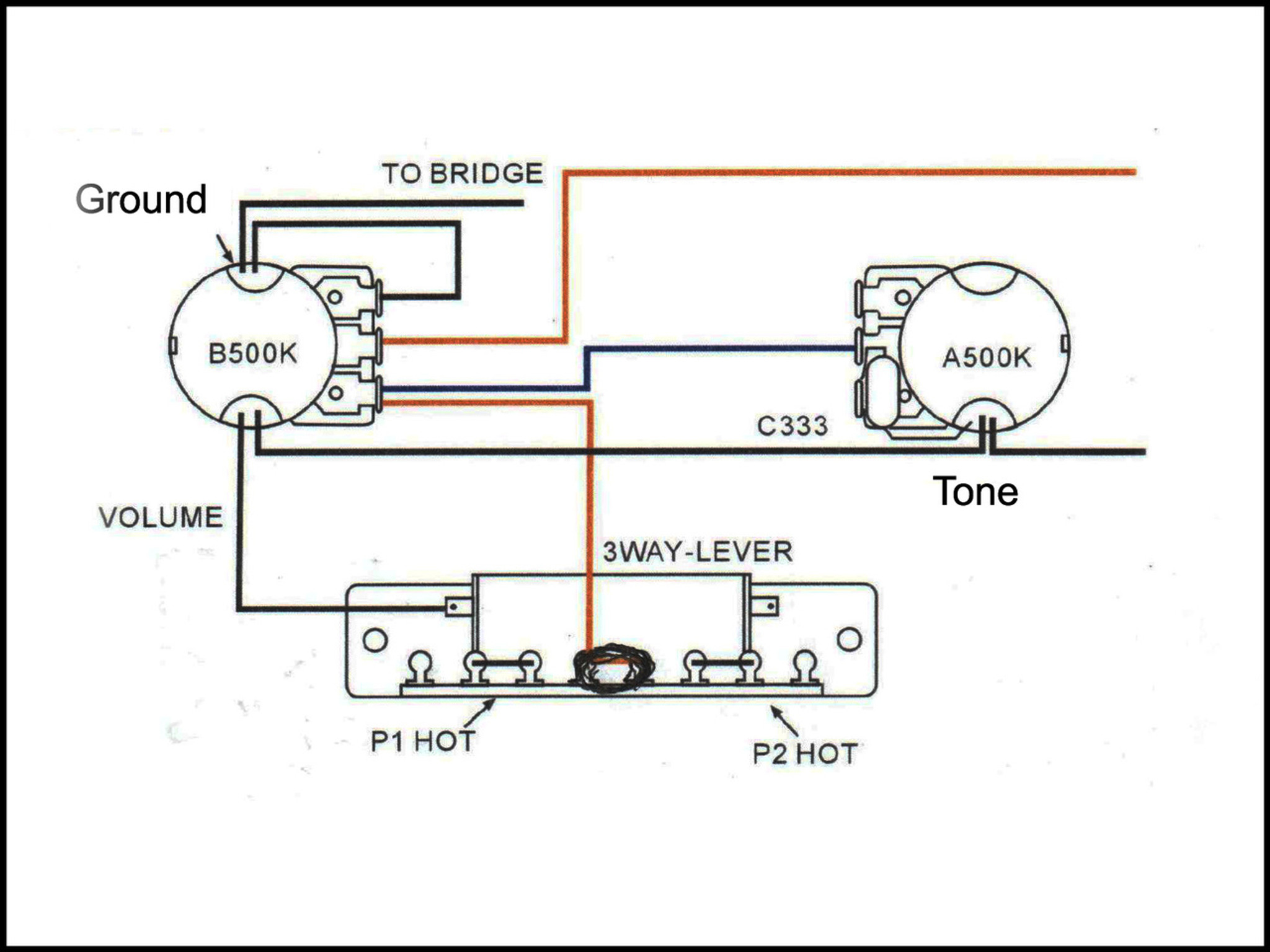 Basic 3 Way Guitar Pickup Toggle Switch C B Gitty Crafter Supply Dimmer Switch Wiring Diagram Guitar