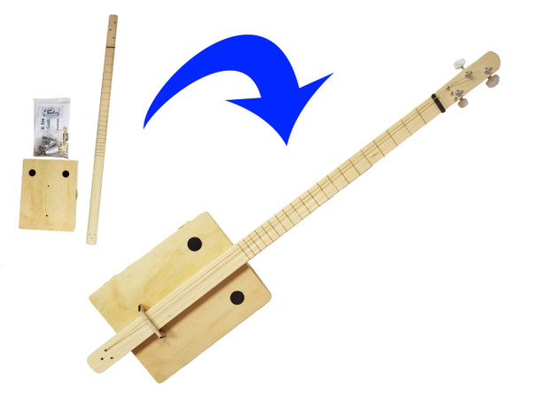 """Complete """"Pure & Simple"""" Cigar Box Guitar Kit - Choose Fretting and Pickup Options!"""