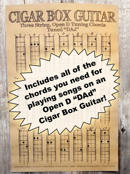 Open D  DAD  Chord Poster for 3   string    Cigar Box Guitars