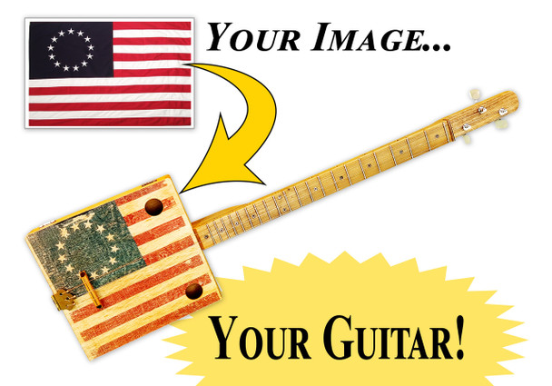 Custom Printed 3-string Cigar Box Guitar - Upload Your Own Design!