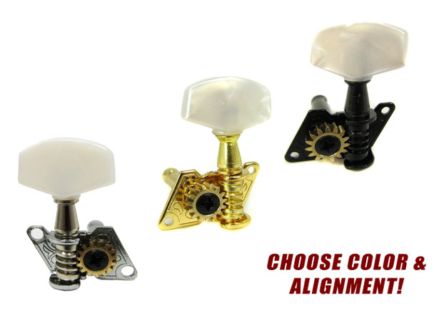 Open-Gear Tuners for 3-String Cigar Box Guitars - Choose Color & Alignment