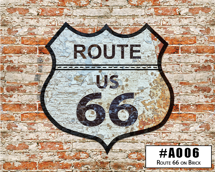 A006 Route 66 Sign on Brick Wall