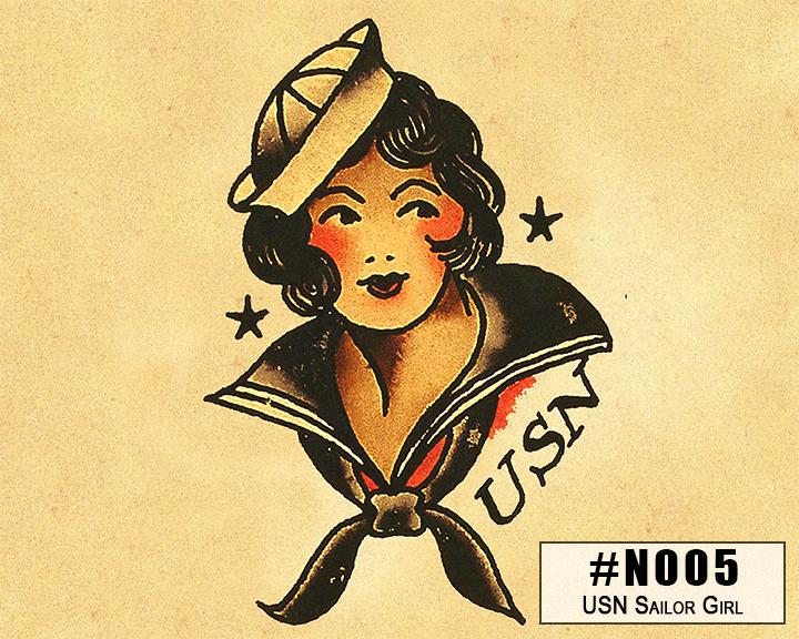 NOO5 USN Sailor Girl Tattoo Art Box Design